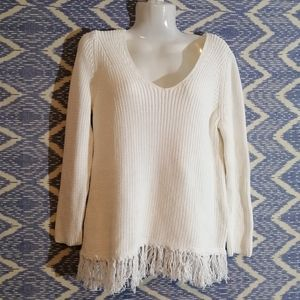 Loft V-Neck Sweater with Fringe Bottom SZ xs